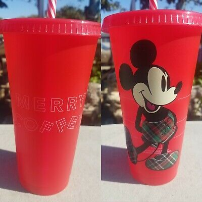 Mickey Mouse Christmas Starbucks Reusable Cup New Fast Shipping