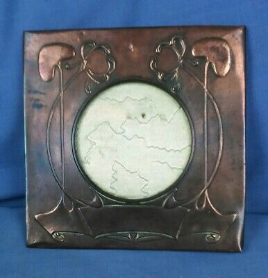 Antique Arts And Crafts Art Nouveau Copper Photo Frame With Glass Aperture
