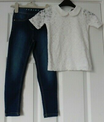GIRLS LACE TOP by TU + PAIR OF JEGGINGS by GEORGE, AGE 6 YRS
