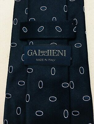 Gallieni 1889 - Italy - silk - tie - dark blue patterned ellipse