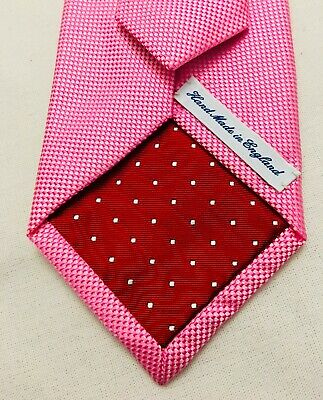 UK made - silk - tie - shocking bright pink