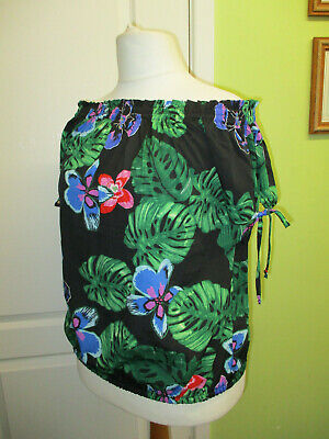 Womens Off The Shoulder Summer Top Black & Multi Floral Print Size 16 By Pep&Co