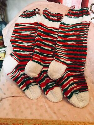 """Red /& Green Trim 20"""" Free Name Handmade By ME!! HAND KNIT CHRISTMAS STOCKING"""