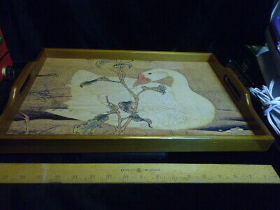 "Vintage 17.5 x 11.5 x 1.25"" Wooden Serving Tray-White Swan on Water-free ship"