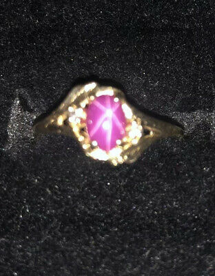 14K Yellow Gold Lindy Star Pink Sapphire Ring GORGEOUS TruBrite
