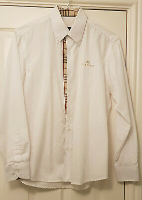 Burberry Mens Long Sleeve Shirt  Size 15.75 Collar  White