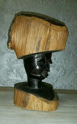 Antique Mayan Mexican Large Bust Man Hand Carved Wooden Statue Latin American