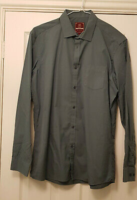 Next Mens Long Sleeve Shirt Slim Fit Size 16.5 Collar  Teal Green