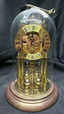"""Elgin"" 1 Jewel Glass Dome Clock by S. Haller: Made in Germany"