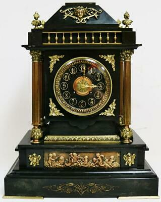Antique French 8 Day Slate & Bronze Mounts Architectural Striking Mantel Clock