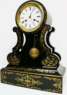Rare Antique French Boulle Portico Mantel Clock 8 Day Striking Inlaid Drumhead