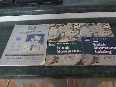 Lot Of 3 Jules Borel & Co Watch Movements Wristwatch Watchmakers Catalog Books