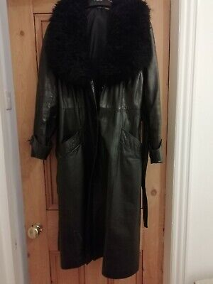 True Vintage 70s Leather Coat With Fur Collar 14 16