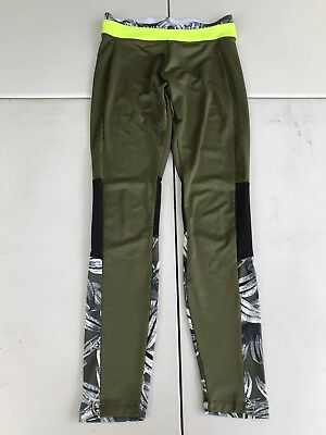 Energie Womens S Low Rise Olive Drab Green Leggings White Flowers I Will Win