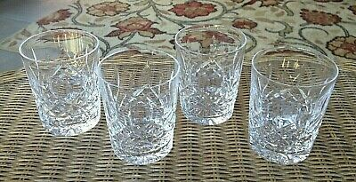 """4 Lot Waterford Crystal Lismore Double Old Fashioned Tumbler Glasses 4 3/8"""" Mint"""