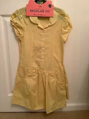 Girls 2 Pack School Summer Dresses Yellow/White Age 6-7 Regular Fit NEW WITH TAG