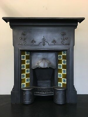Original Restored Antique Cast Iron Art Nouveau Tiled Fireplace Insert (TA467)