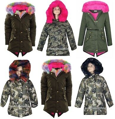 Girls Hooded Jacket Kids Faux Multi Fur Parka School Outdoor Coat Fishtail 3-13