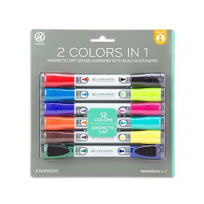 U Brands Low Odor Magnetic Double Ended Dry Erase Markers With Erasers, Bulle...