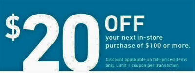 One Lowes $20 OFF $100 Coupons Discount - IN STORE ONLY - Fast Shipment