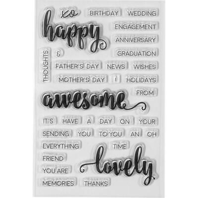 Spellbinders Clear Acrylic Stamps HAPPY SENTIMENTS 35 stamp set