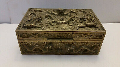 Chinese Antique High Relief Brass Dragon Wood Lined Trinket Box Made in China