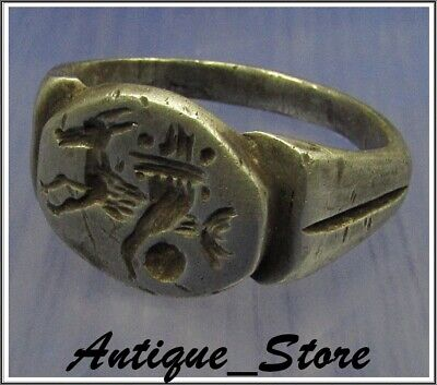 **  CAPRICORN ** Ancient Silver Legionary  Greek Roman Ring **AMAZING **