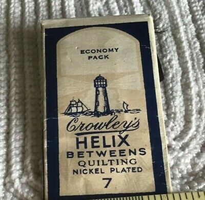 Vintage Crowley's Helix Between Quilting Needles nickel plated England Sz 7