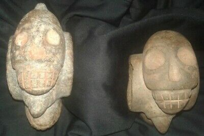2 Stone mace head of preColumbian Chavin carved in the shapes of 3 skulls Moche
