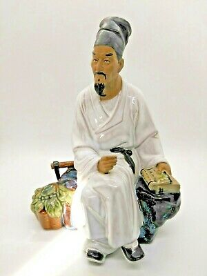 Vintage Chinese pottery farmer man, statue, figurine