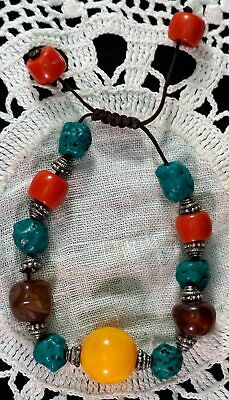 Adjustable Chinese Bracelet with Pressed Amber Ball Turquoise Agate & Coral