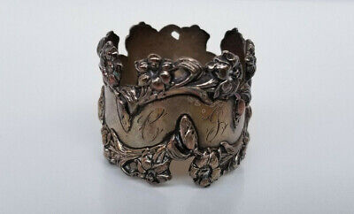 Antique BLACKINTON Sterling Silver Floral Napkin Ring Monogrammed 30 grams