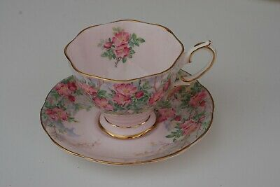 Royal Albert Bone China Wild Rose Footed Tea Cup With Saucer