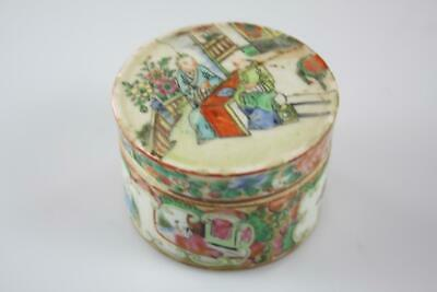 Antique Chinese Qing Export Ware Famille Rose Hand Painted Lidded Box
