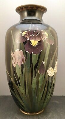 Large Japanese Meiji Cloisonne Vase with Irises