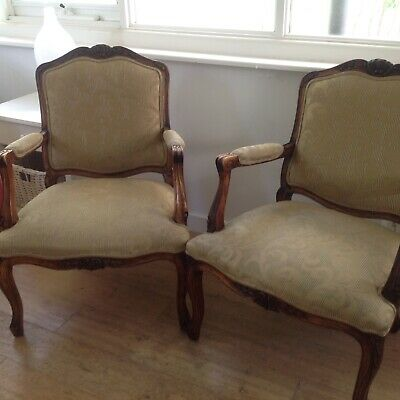 LOUIS style CHAIRS, armchairs -A MATCHING PAIR, beautifully carved. Great con.