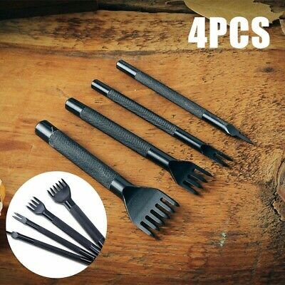 4PCS Leather Craft Tools Hole Chisel Graving Stitching Punch Tool Set 3,4,5MM