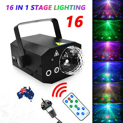 16 in 1 Sound Active Stage Light LED Laser Beam RGB Xmas Disco Party Lighting AU