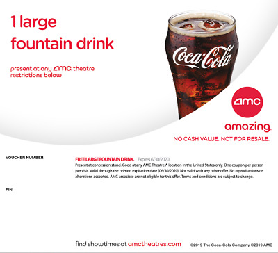 An AMC Large Fountain Drink Beverage expired 06/2020 Instant Delivery Email 24hr