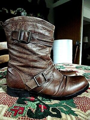 Mantaray, Ladies,Lovely Mid Tan Soft Leather,Biker Ankle Boots - Size Uk 6+ Eu39