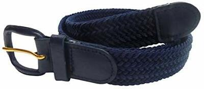 Mens Elastic Fabric Woven Braided Stretch Webbed Belt With Leather Buckle Sizes