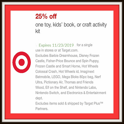 Target 25% Off Toy Book Craft Coupon Online Or In-store Mobile Discount FAST