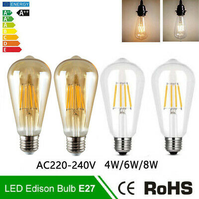 LED E27 Edison Filament Bulb Light ST64 Retro Vintage Screw Globe Lamp 4/6/8W