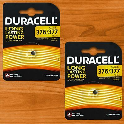 2x Duracell 377 SR626SW AG4 SR66 Silver Oxide 1.5V Coin Cell Watch Battery SR626