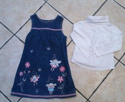 """Girls Next Fab Applique """"Fairy"""" Denim Pinafore Dress And Top Set Age 3-4 Years"""
