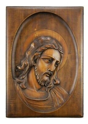 Hand Carved Wood Holy Face of Jesus Sculpture Wall Hanging Christ Carving