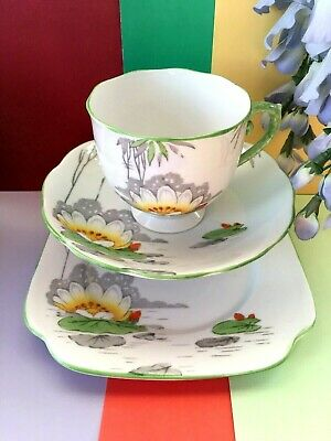 "Vintage Roslyn Bone China "" Lily "" Tea Set Trio,Teacup, Saucer & Tea Plate"