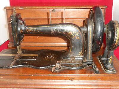 Vintage Sewing Machine Maker James Warwick c1870's-80's + shuttle, bobbin, case.