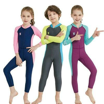 Safety Kid One-piece Diving Suit Long Sleeve Snorkeling Surfing Wetsuit Swi E0G7