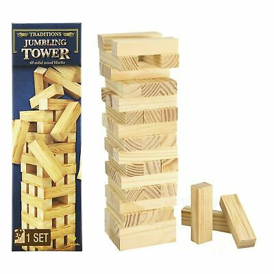 Wooden Jumbling Tower Traditional Family Fun Board Game Kids Strategy Toys Games